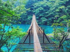 ターコイズブルーの川にかかる夢の吊り橋♡【寸又峡】に広がる幻想☆